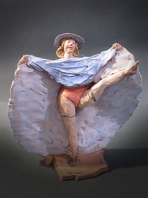 Figura in terracotta di ballerina di cancan - Anni 80