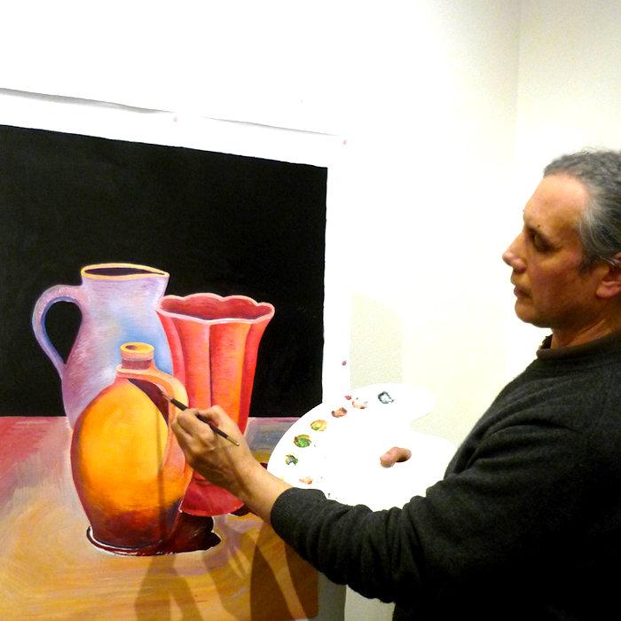 Ivan Dimitrov che dipinge a olio su tela