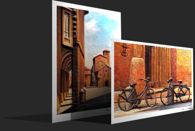 Immagine prospettica di cartoline, landscape e portrait