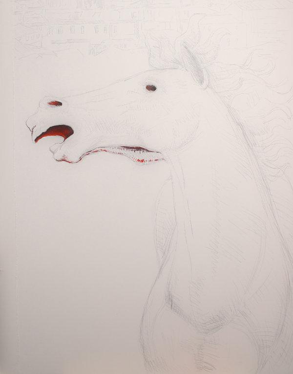 Particolare del drappellone: la seta del drappellone e il cavallo abbozzato