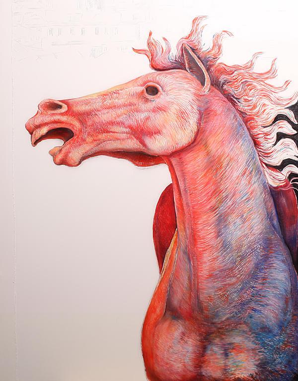 Particolare del drappellone: il cavallo terminato