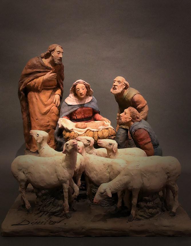 Presepe con pecorelle e adoratori: veduta d'insieme