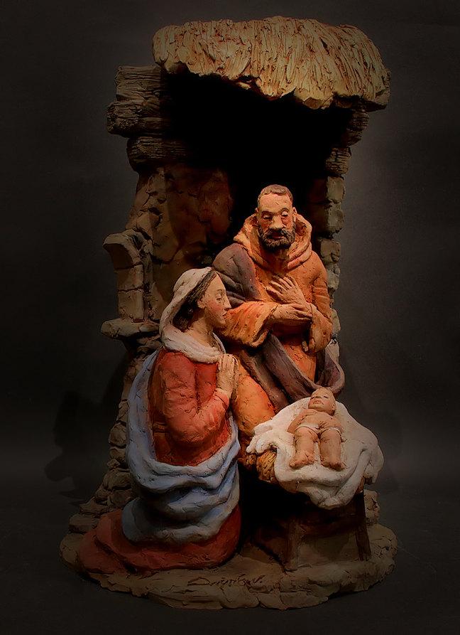 Presepe con Maria in preghiera: veduta d'insieme