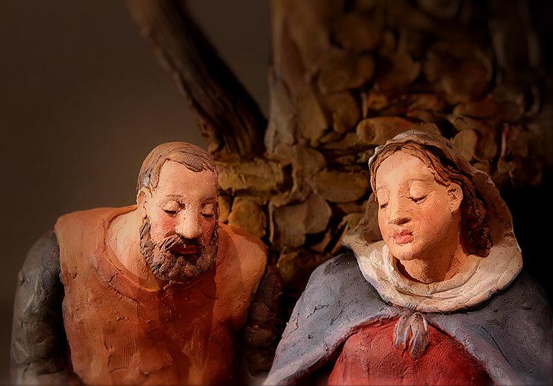 Presepe con la Famiglia che riposa: San Giuseppe e Maria